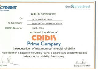 Pettenon Cosmetics Spa ottiene il Cribis Prime Company