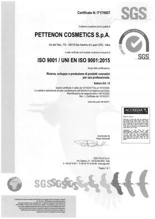 Pettenon Cosmetics Spa ottiene la certificazione ISO 9001:2015